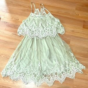 Pinky - Sage Color Lace Dress Size Medium